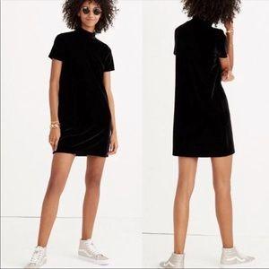 Madewell black velvet short sleeve mini dress M